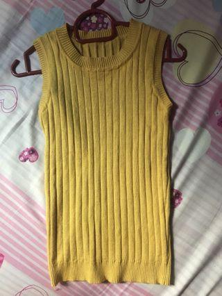 Yellow Knitted Sleeveless Top