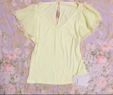 Japan Lip Services yellow ruffle summer top Free Size New