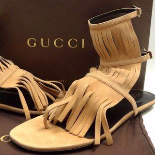 Gucci Becky Tan Suede Fringe Sandals 38.5