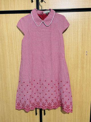 L'zzie dress red checkered collar qipao inspired