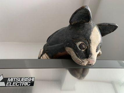 Black White Curious Cat carved from wood