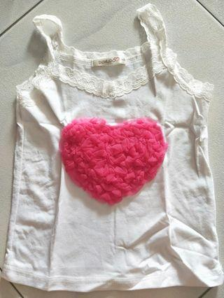 New Dark Pink Hearted Sleeveless Baby girl Tutu Top