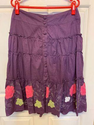 日系風紫色層次長裙蛋糕裙下擺刺繡立體花朵(有瑕疵隨便賣)