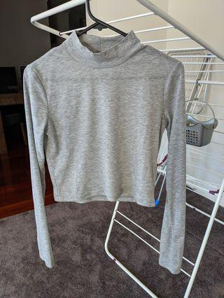 Grey high neck crop