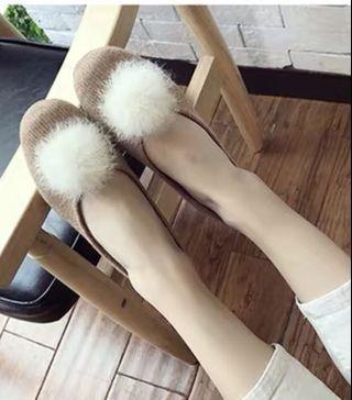 $12 nude furry shoes mid heel