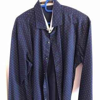 Men Work Formal Shirt Polka Dots L Size Navy brand new