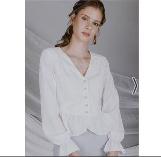 OHVOLA OHV MARGAUX BUTTON UP TOP IN WHITE (XS)