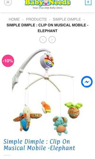 Simple dimple musical clip on hanging mobile