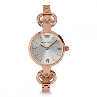 NEW Emporio Armani Classic Silver Dial Ladies Dress Watch AR1773 (Rose Gold)