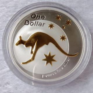 2005 GOLD PLATED SILVER KANGAROO - ONE OZ SILVER PROOF COIN