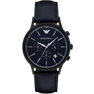 NEW Emporio Armani AR2481 Blue Herringbone Dial Chronograph Leather Men's Watch (Navy)