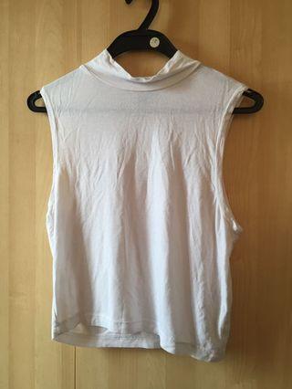 Cotton On White Turtleneck Sleeveless Crop Top