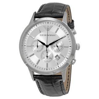 NEW Emporio Armani AR2432 Classic Chronograph Silver Dial Mens Watch (Black)