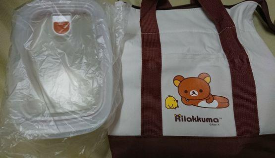🚚 2019華南金股東紀念品拉拉熊餐袋+玻璃保溫盒