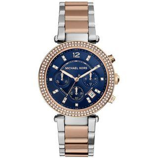 NEW Michael Kors Parker Chronograph Blue Dial Two-tone Ladies Watch MK6141 (Navy)