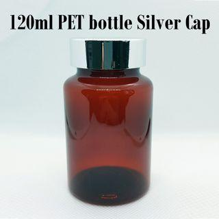 120ml PET plastic bottle comes with silver cap and airtight foam sealer