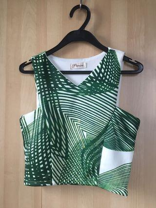 White and Green Patterned Crop Top