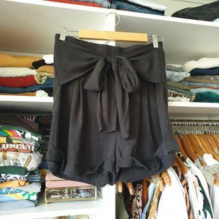 High waisted black tie up shorts