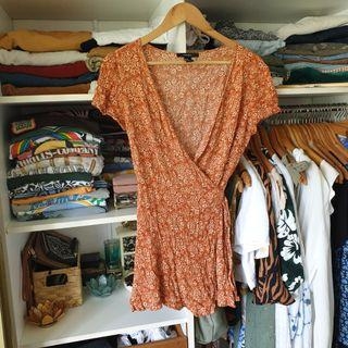 Orange boho pattern wrap dress