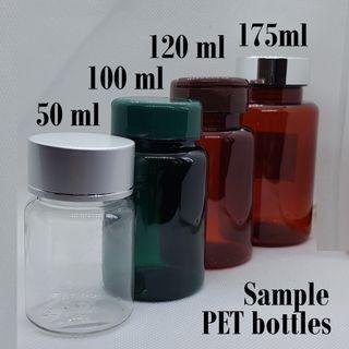 Sample PET bottles assorted sizes 50ml 100ml 120ml 175ml plastic supplement bottles comes with caps
