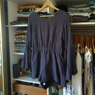 Long sleeve navy playsuit