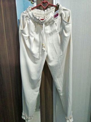 Celana cream pants wanita