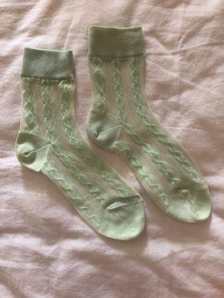 mint green super cute socks