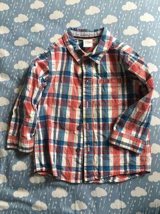 🚚 二手 H&M 紅藍格子襯衫 12-18M
