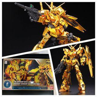 🚚 The Gundam Base Limited unicorn Gunpla Bandai Gold Coating Rg Real Grade