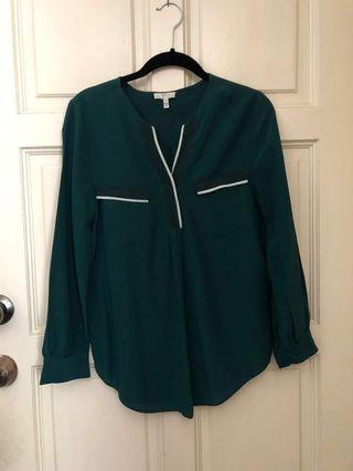 100% Silk Green Blouse