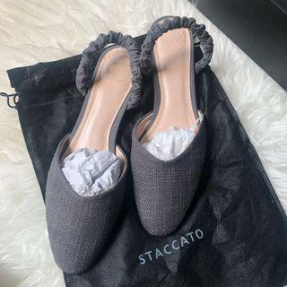 staccato grey sandals / slip on / flat shoes / selop size 39