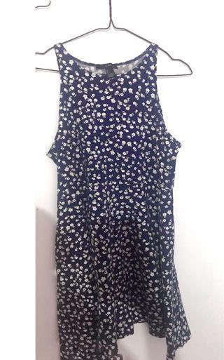 Flower dress navy || dress bunga-bunga biru dongker