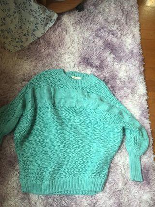 🚚 針織毛衣 藍綠色