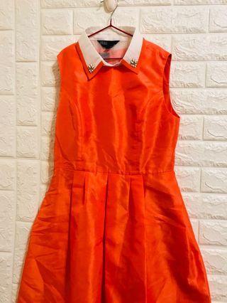 🚚 avrala 耀眼亮橘色小洋裝