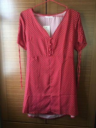 🚚 大紅色波點洋裝Red dress