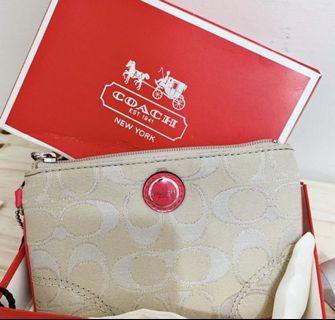《全新甜價》COACH緹花布面皮革邊隨身手提包*品牌門市購入