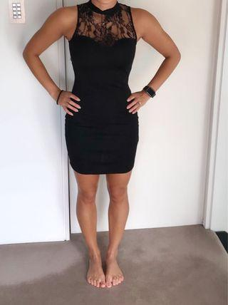 ASOS petite black with lace neck dress in xs