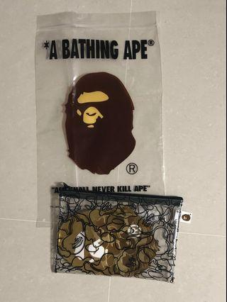Bathing ape pouch with gold packets