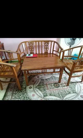🚚 living room wooden set sofa