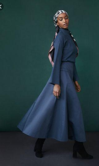 Hana Tajima Uniqlo Navy Blue Long A Cut Skirt
