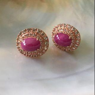 Pretty! Genuine pink ruby earrings