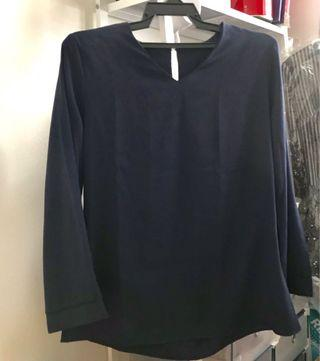 Blue Black Bell Sleeve Blouse