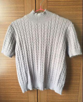 🚚 小高領柔軟短袖毛衣Purple Sweater