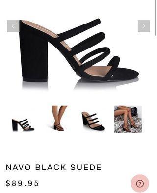 Billini Navo Black Suede Heels