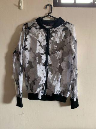 Floral bomber sheer black jacket