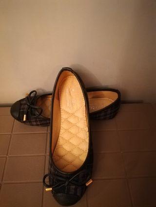 全新格仔蝴蝶結簡約圓頭平底便鞋
