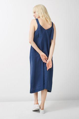 Jag Navy Linen Midi Strap Dress