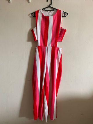 Missguided Red Pink White stripe design Jumpsuit