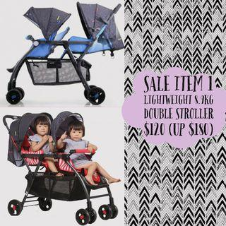 Moving Sale #1: Lightweight 8.9kg Double Stroller