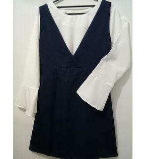 Dress Wanita Navy White